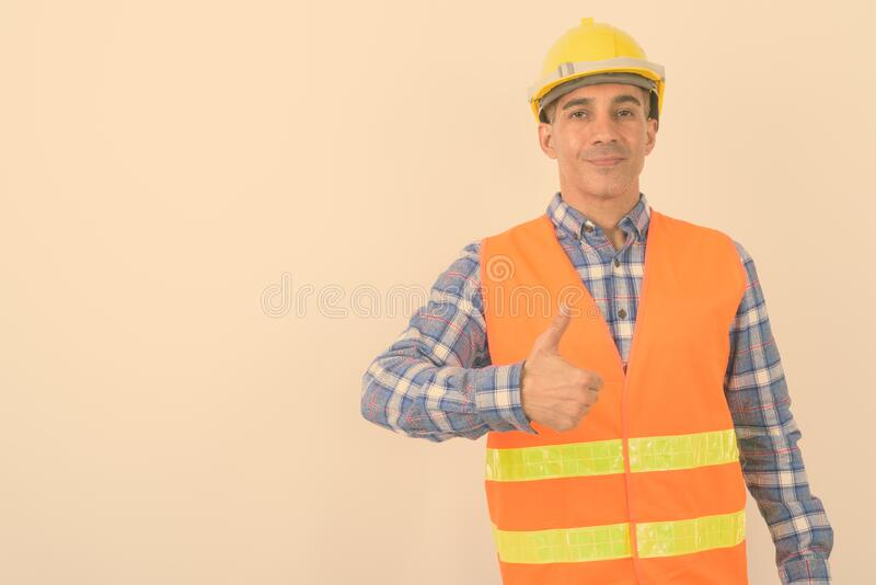 Portrait of mature Persian man construction worker stock photography