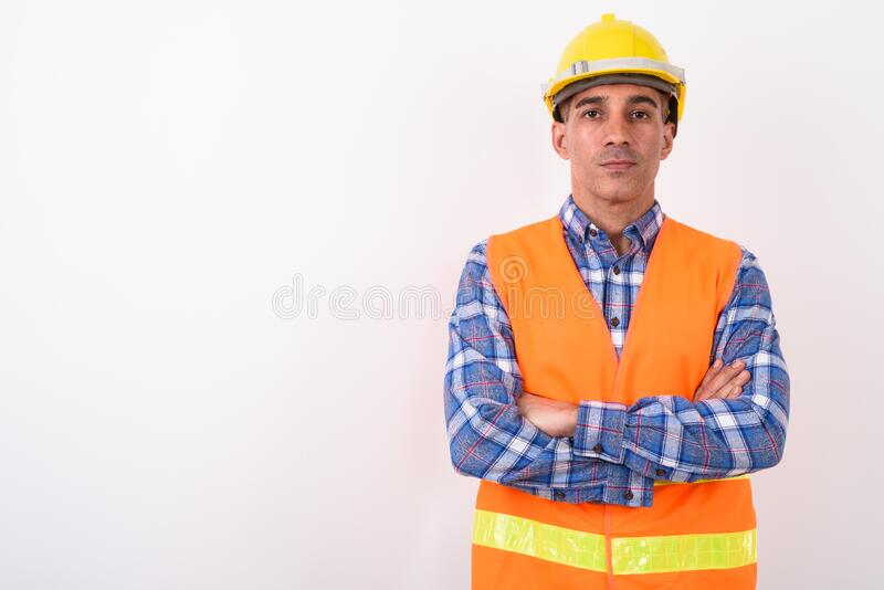 Portrait of mature Persian man construction worker. Studio shot of mature Persian man construction worker against white background stock photos