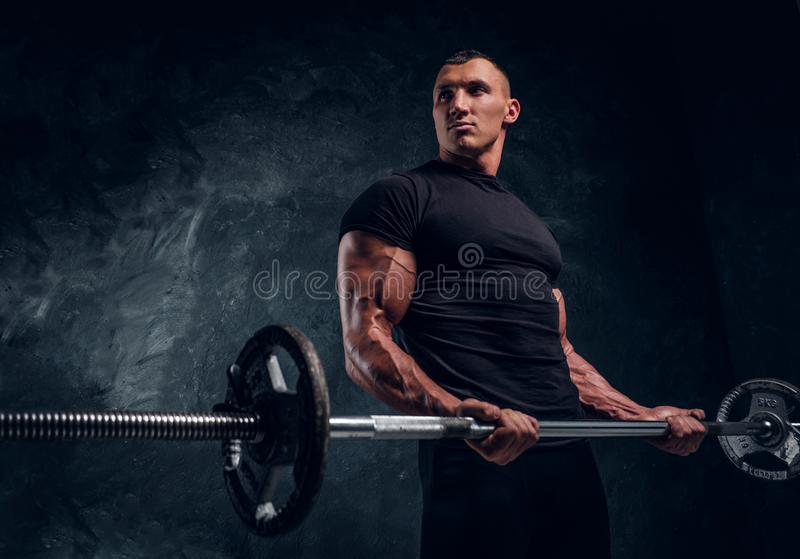 Muscular attractive bodybuilder lifting a barbell royalty free stock photo