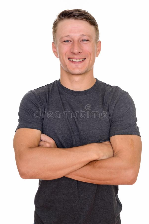 Free Studio Shot Of Young Happy Caucasian Man Isolated Against White Stock Image - 149309241