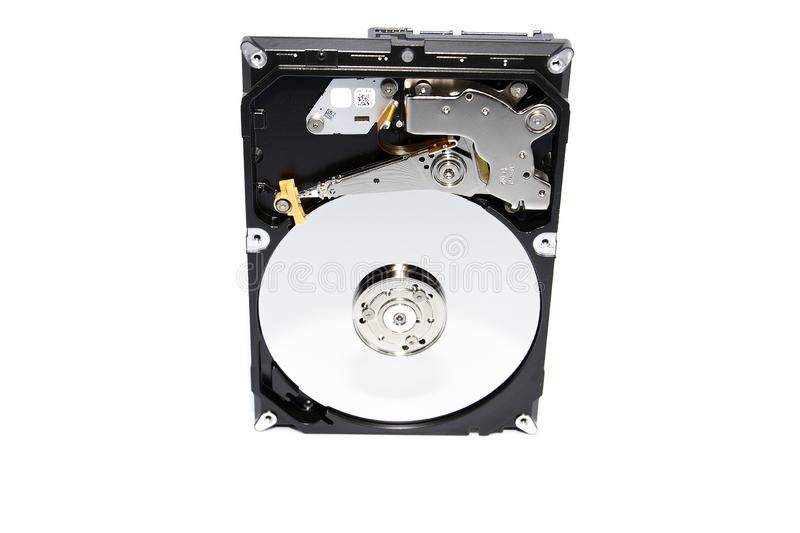 Open Hard Disk Drive isolated on a white background. A studio shot of a open Hard Disk Drive isolated on a white background stock photography