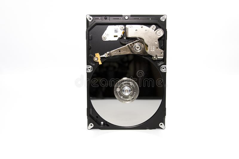 Open Hard Disk Drive isolated on a white background. A studio shot of a open Hard Disk Drive isolated on a white background stock image