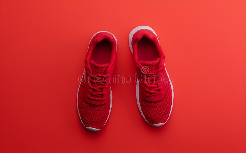 A studio shot of pair of running shoes on red background. Flat lay. stock image