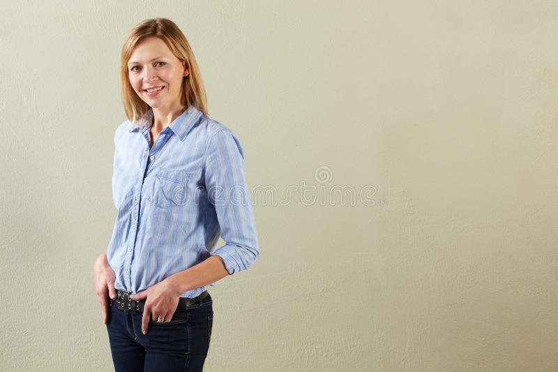 Download Studio Shot Of Relaxed Middle Aged Woman Stock Image - Image: 23959917