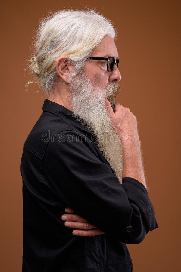 Portrait of senior bearded man profile view while thinking stock photography