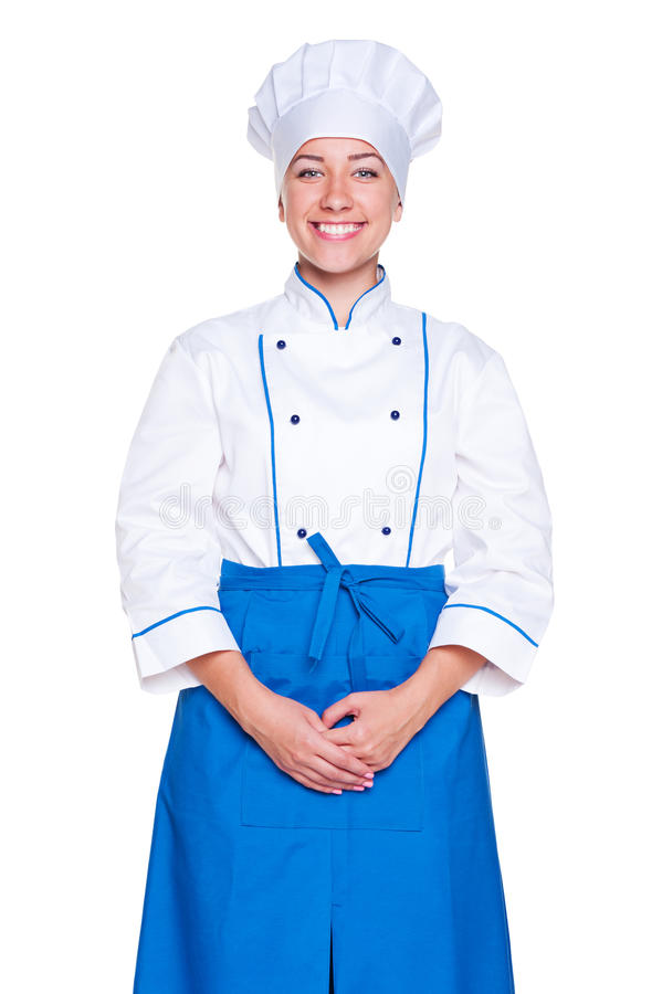 Download Studio Shot Of Smiley Cook In Uniform Stock Image - Image: 25656239