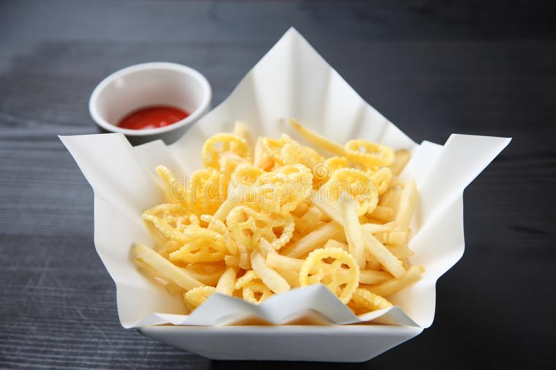 Snack food with tomato ketchup royalty free stock image