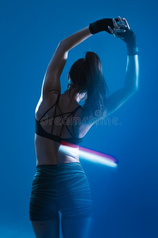 Sporty girl stretching royalty free stock images