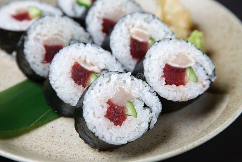 Studio shot of tuna sushi roll stock photography