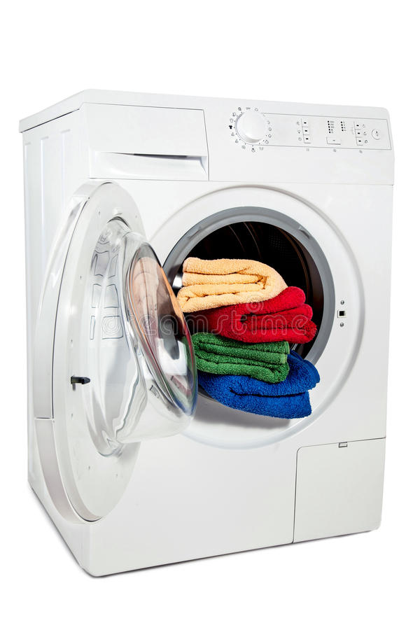 A studio shot of a washing machine stock photo