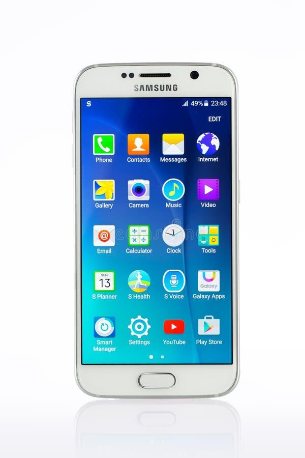 Studio shot of a white Samsung Galaxy S6 smartphone. Varna, Bulgaria - April 13, 2015: Studio shot of a white Samsung Galaxy S6 smartphone, with 16 mP Camera