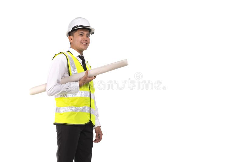 Young architect or engineer holding drawing paper on white background royalty free stock photos