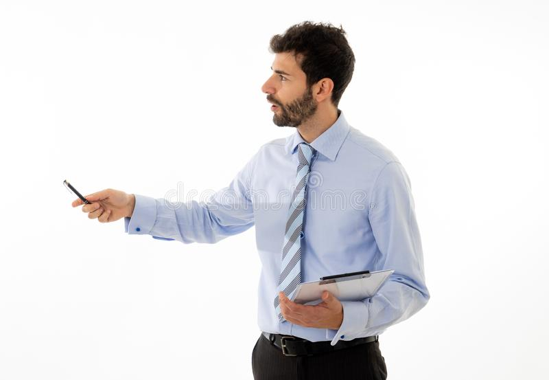 Studio shot of young businessman coach in a meeting discussing ideas stock photography