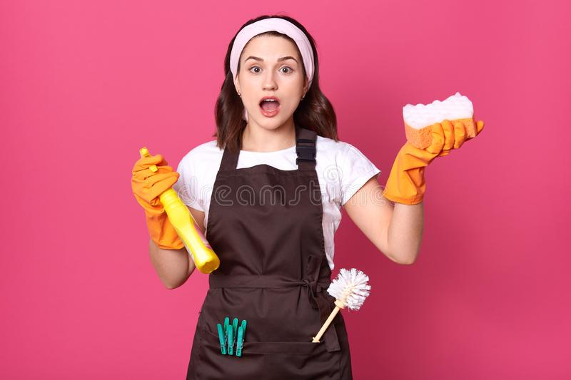 Studio shot of young housewoman wearing white casual t shirt, brown apron and hair band, holding sponge and detergent, posing with royalty free stock photos