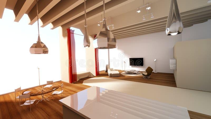 Studio Skyline Apartment. Studio apartment inside of a sky scrapper building complex vector illustration