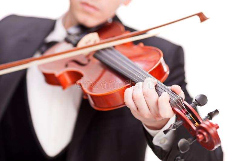 Studio som skjutas av violinisten som spelar en fiol royaltyfri bild