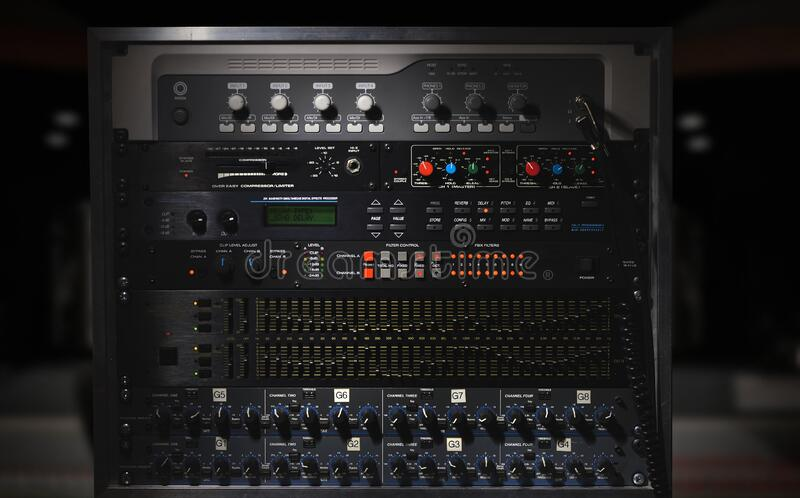 Studio sound processor with with compressors, preamplifiers and audio interfaces stock photography