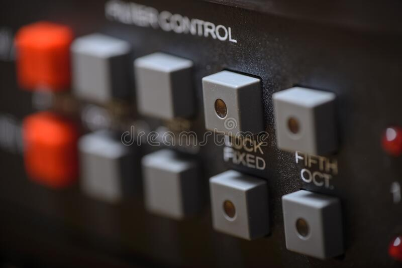 Studio sound processor with with compressors, preamplifiers and audio interfaces stock images