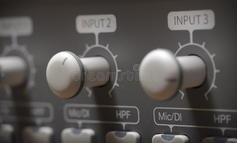 Studio sound processor with with compressors, preamplifiers and audio interfaces royalty free stock photo