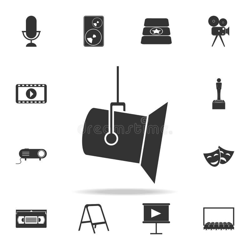 studio spotlight icon. Set of cinema element icons. Premium quality graphic design. Signs and symbols collection icon for website stock illustration