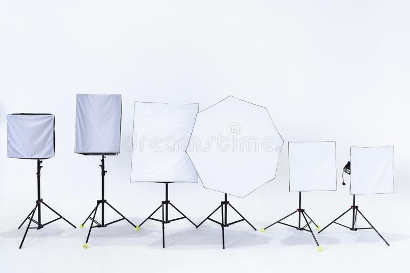Studio Spotlight for Shooting Photographic or Movie Entertainment, Flash Light Studio Set and Space for Professional Digital royalty free stock photo