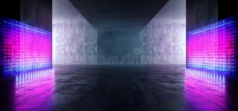 Studio Stage Glowing Matrix Dot Neon Led Laser Lights Blue Purple Ultraviolet Sci Fi Modern Retro Room Grunge Concrete Rough vector illustration