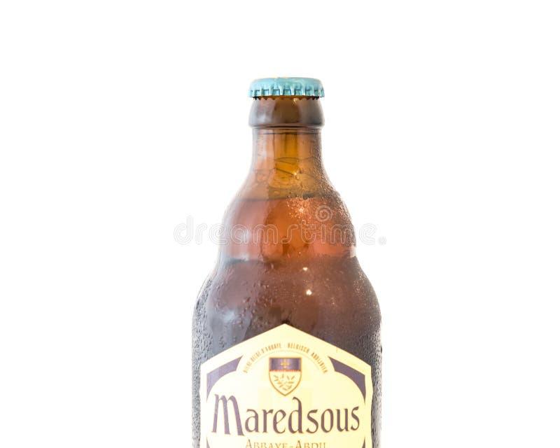 Studio strzału Maredsous trójki Belgia piwo odizolowywający na bielu obraz stock