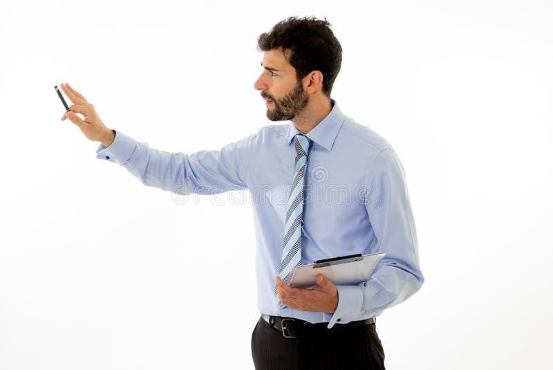 Studio strza? m?ody biznesmena trener w spotkaniu dyskutuje pomys?y obraz stock