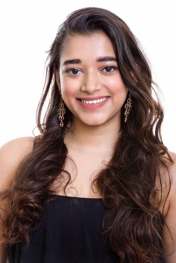 Studio strzelał młody szczęśliwy Indiański kobiety ono uśmiecha się zdjęcia stock