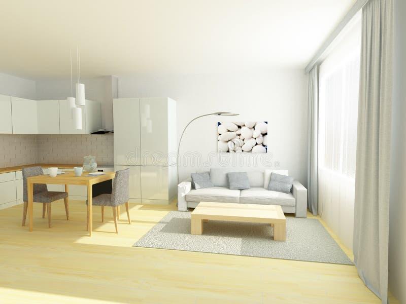 Studio in un piccolo appartamento nei colori grigi e bianchi illustrazione vettoriale