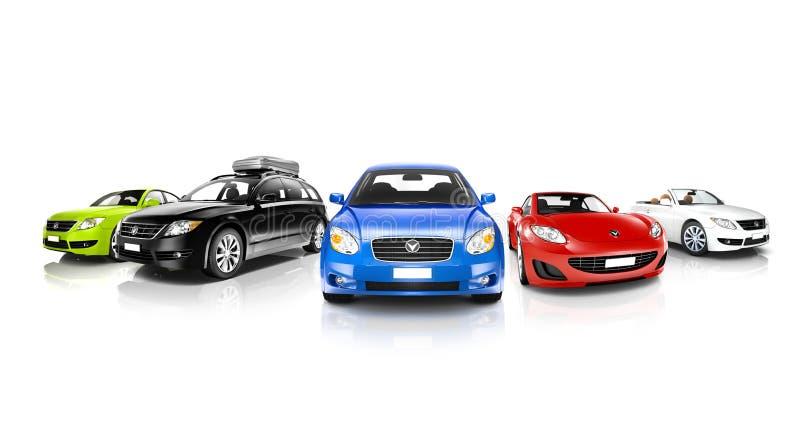 Studio van Kleurrijke Generische Auto's wordt geschoten die stock afbeeldingen