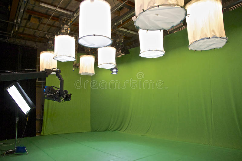 Studio verde dello schermo TV immagini stock