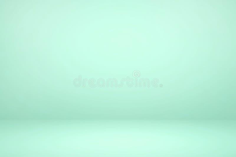 Studio vert pâle vide avec fond abstrait clair et ombragé illustration de vecteur