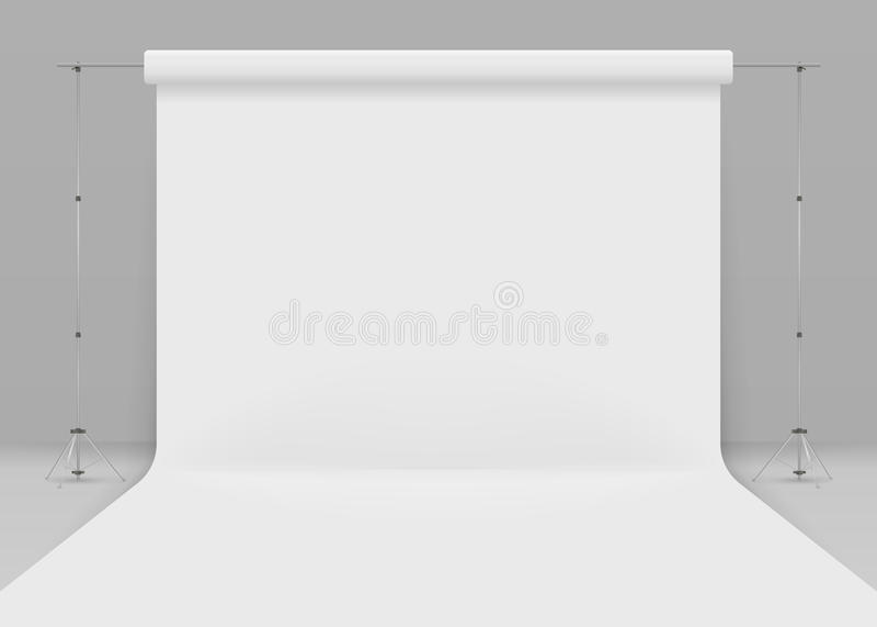 Studio vide de photo Moquerie réaliste du calibre 3D  sur le fond gris studio 3d installé avec le fond blanc illustration stock