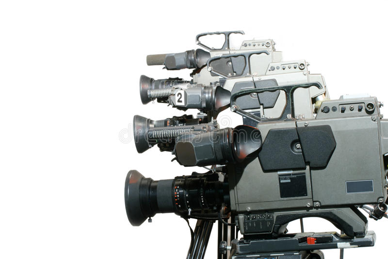 Studio Video Cameras in a line royalty free stock images