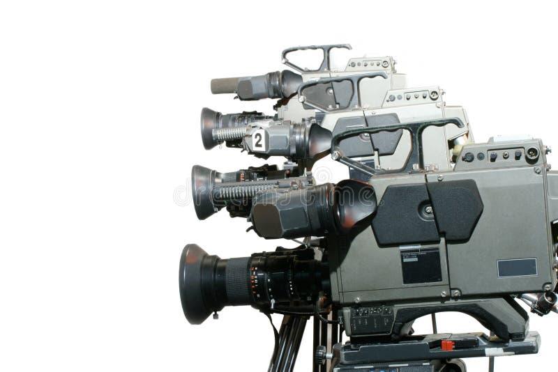 Studio-Videokameras in einer Zeile lizenzfreie stockbilder