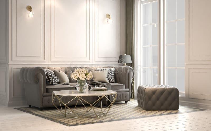 Studio vivant intérieur, style classique moderne, 3D rendu, 3D i illustration de vecteur