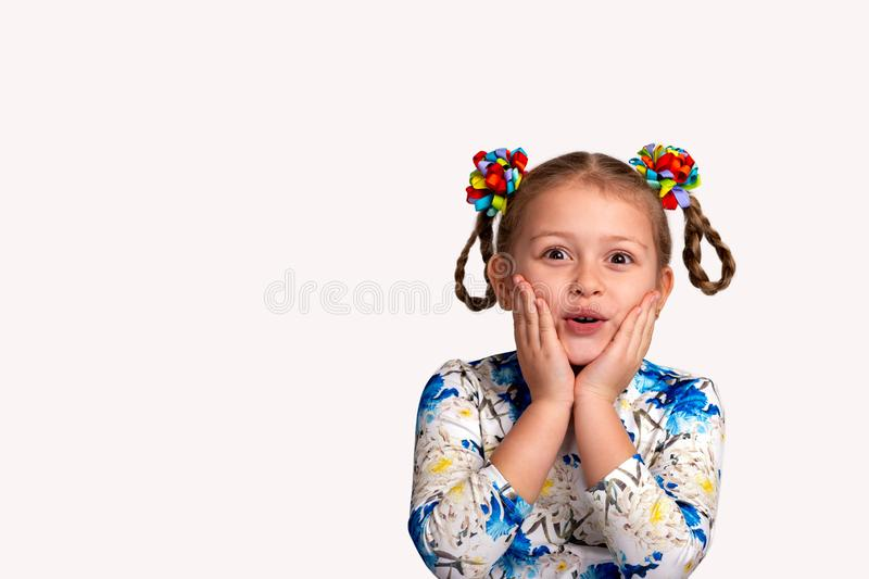 Studio waist up portrait of a little girl wearing shirt with a print and with two pigtails and color bows on a white background. stock image