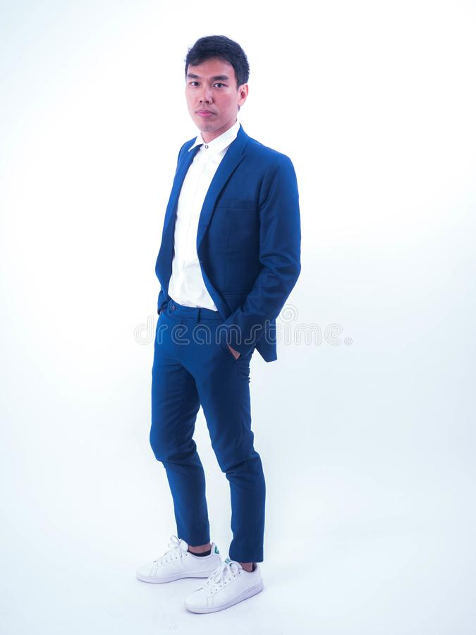 Studio of young handsome in suit with poses fashion royalty free stock images