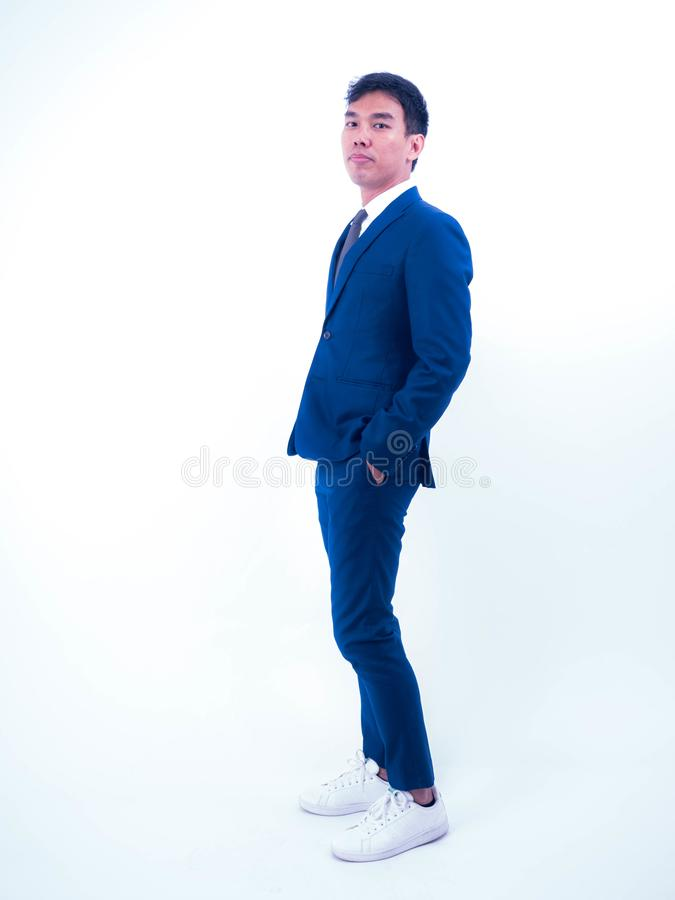Studio of young handsome in suit with poses fashion royalty free stock photography