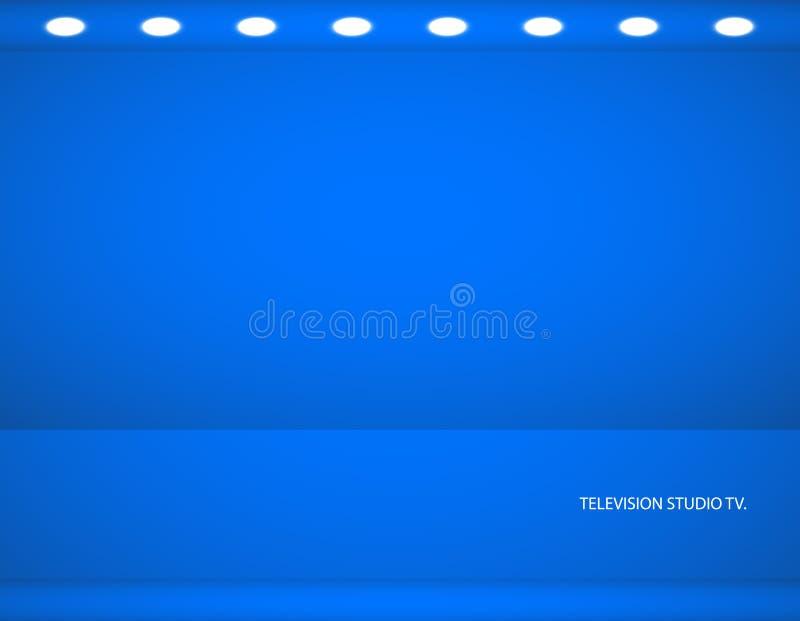 Studioachtergrond Vector lege blauwe studio voor uw ontwerp, schijnwerper Vector grafiek stock illustratie
