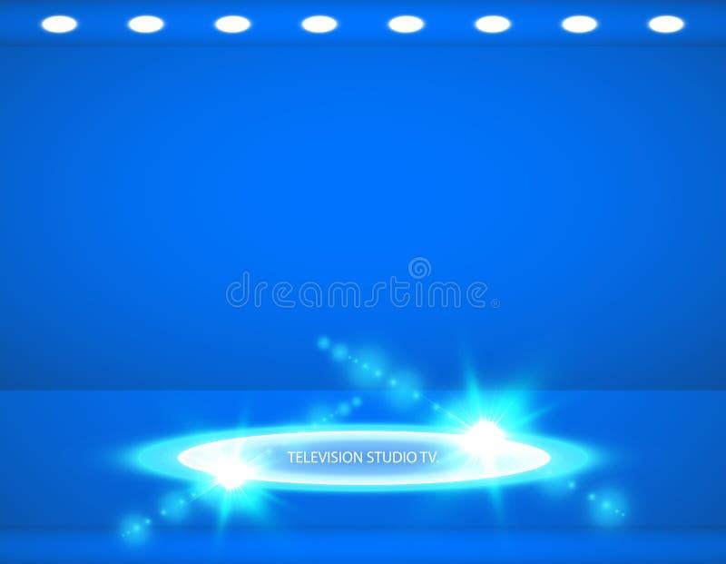 Studioachtergrond Vector lege blauwe studio voor uw ontwerp, schijnwerper Vector grafiek vector illustratie