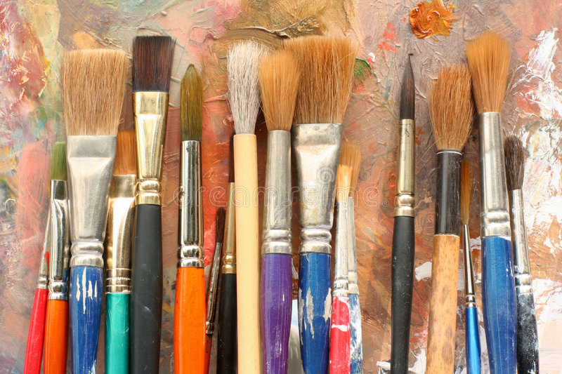 Download StudioArt Palette And Brushes 04 Stock Photo - Image: 343770