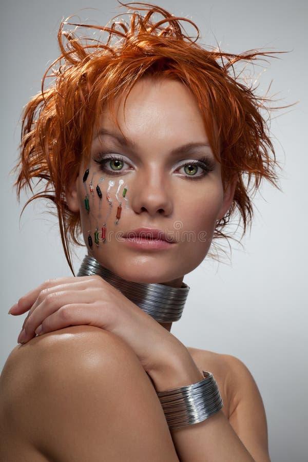 Studioart und weiseportrait Cyberfrau lizenzfreie stockfotos