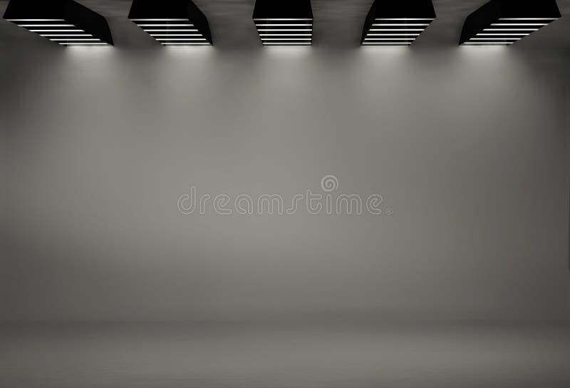 Studiobakgrund med fem softboxes stock illustrationer