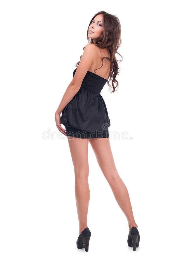 Studiofoto van een mooi meisje op een witte achtergrond royalty-vrije stock foto's