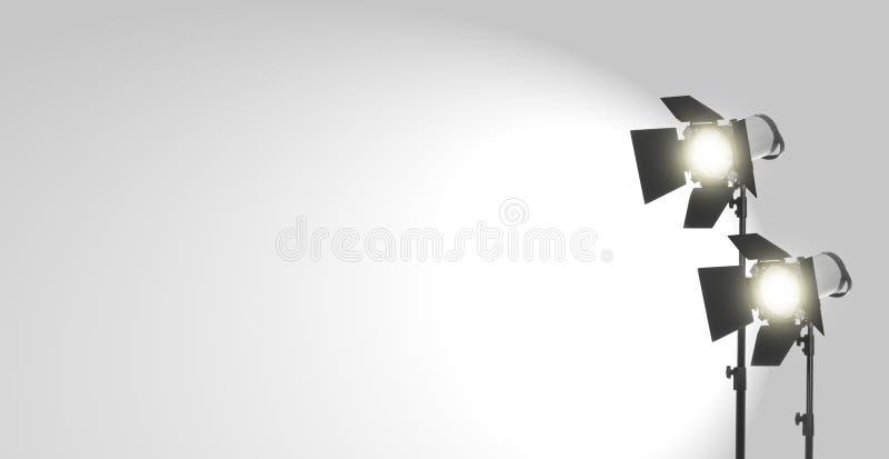 Studiolichten op wit royalty-vrije stock afbeelding