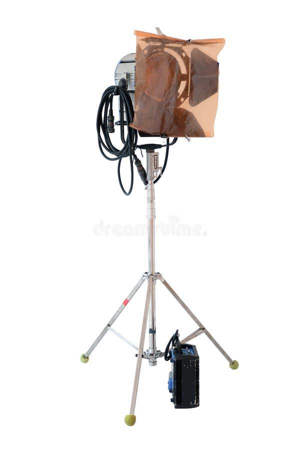 Studiolichttechnische ausrüstung lokalisiert auf weißem Hintergrund lizenzfreies stockfoto