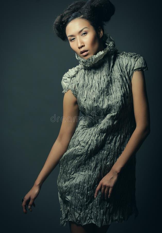 Studioporträt der Schönheit im grauen Kleid mit Modefrisur Mode- und Schönheitskonzept stockbild