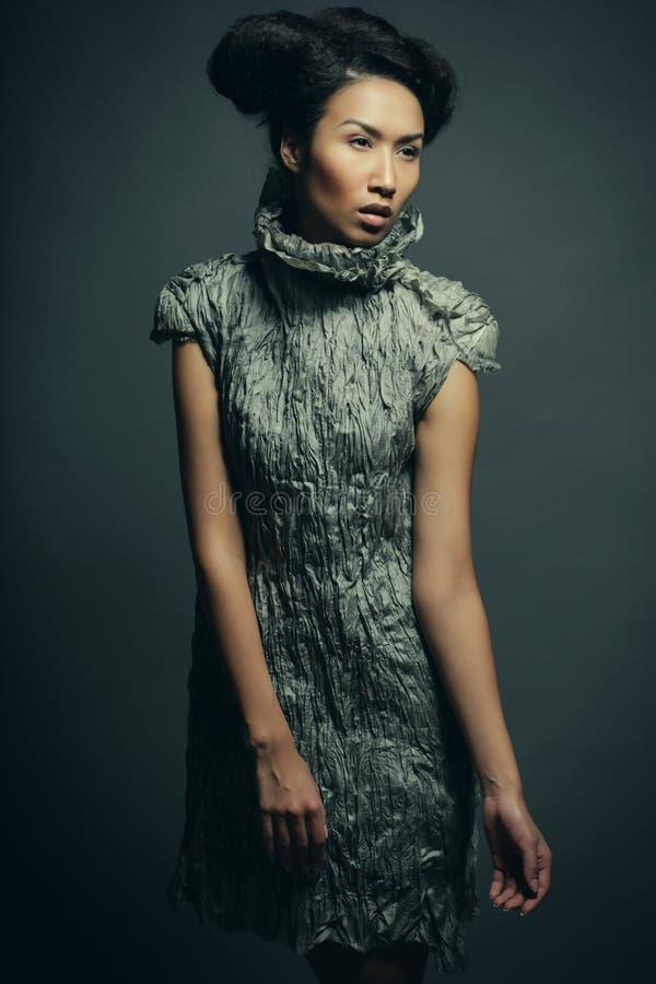 Studioporträt der Schönheit im grauen Kleid mit Modefrisur Mode- und Schönheitskonzept stockbilder